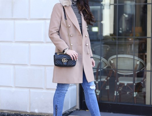 anna monteiro of blushing rose style blog wearing camel coat, faux fur collar coat and booties with block heels