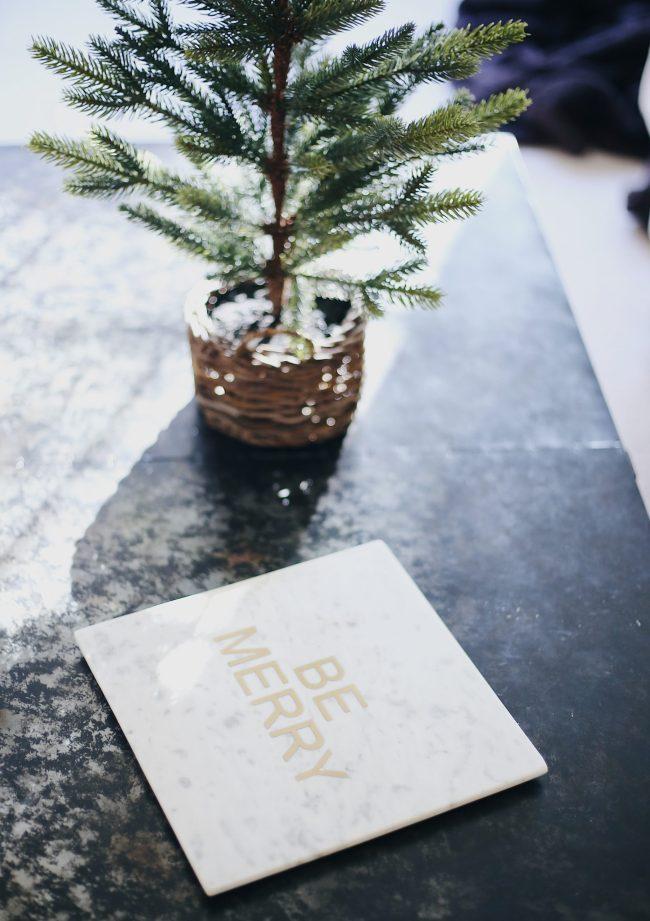 holiday home decor, holiday mini tree, marble cheese tray