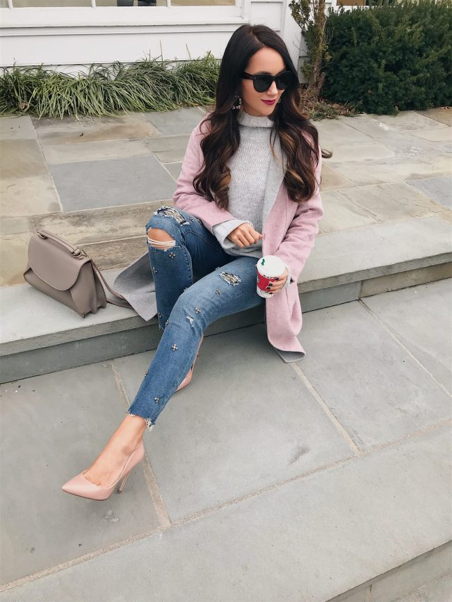 embellished jeans, pink coat and patent leather pumps
