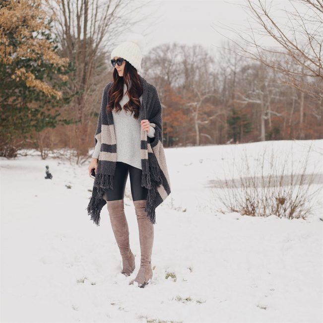 cozy wrap, otk boots, winter outfit