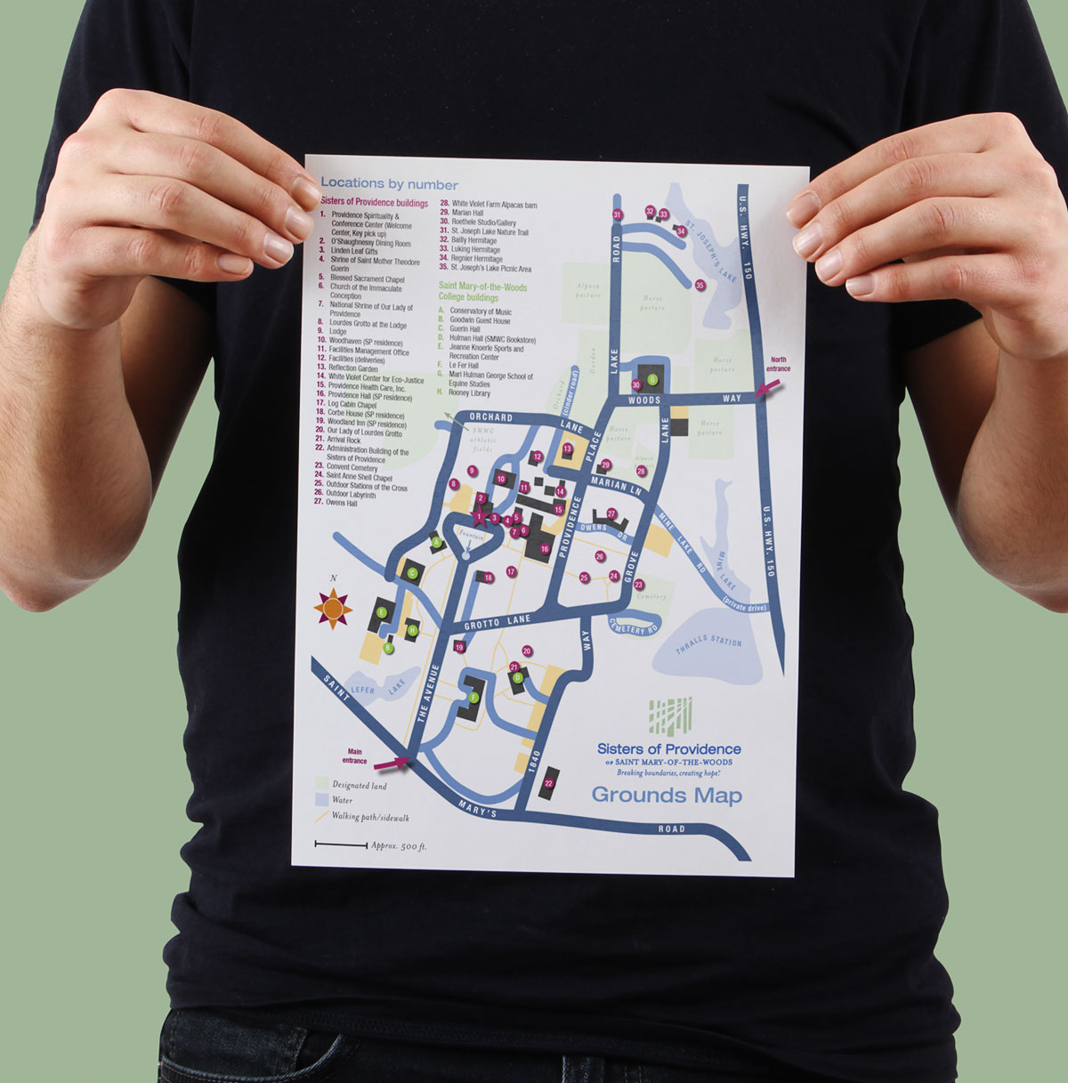A print grounds map for the Sisters of Providence of Saint Mary-of-the-Woods campus