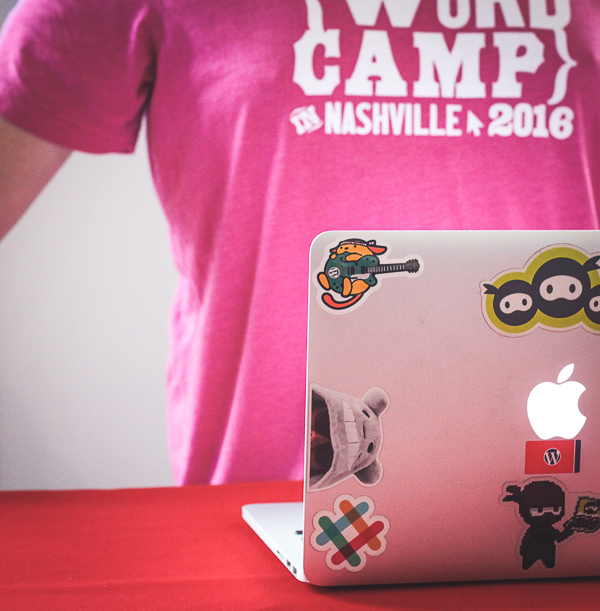 One of the WP Ninja reps liked the sticker so much, he put it right on his laptop! (Bonus: he was wearing the logo on his t-shirt for the perfect background.)