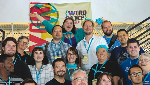 Some of the WordCamp Nashville 2016 crew, with volunteer bandanas matching the conference branding.
