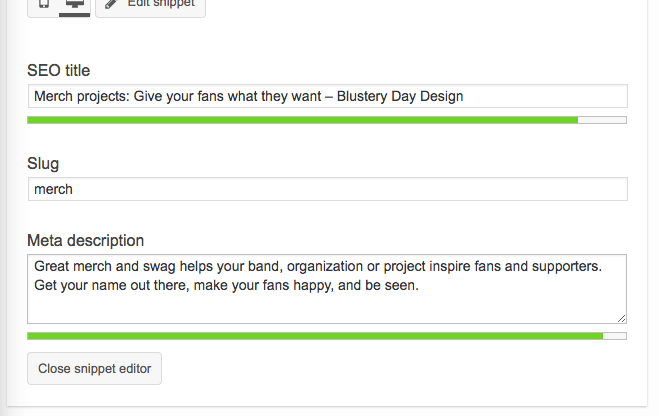 """Screenshot of Yoast SEO """"Edit snippet"""" view, where we are pasting and tweaking our description for our tag."""