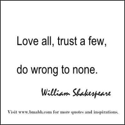 Famous William Shakespeare Quotes about trust
