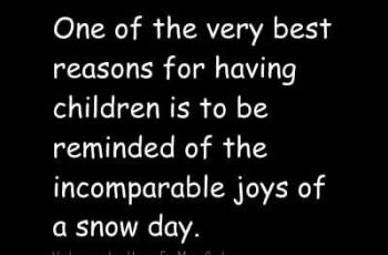 I love My Children Quotes -One of the very best reasons for having children is to be reminded of the incomparable joys of a snow day