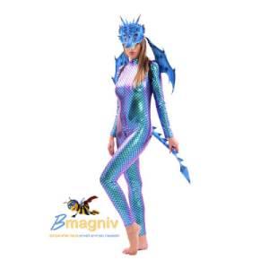 """סט דרקון כחול שחור קטן  : תחפושת דרקון מסכה כנפיים 50X65 ס""""מ וזנב 60 ס""""מ"""