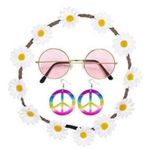 סט היפית לאישה מפואר: משקפיים,סרט ראש פרחים,זוג עגילים