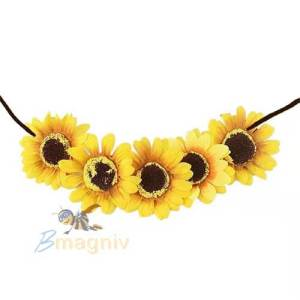 חגורת פרחים חמנייה מעוצבת מתאים לתחפושת חמנייה, תחפושת היפית ,תחפושת נערת הפרחים