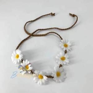 סרט ראש / חגורה פרחים לבנים להיפית