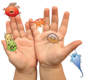 hands with germs