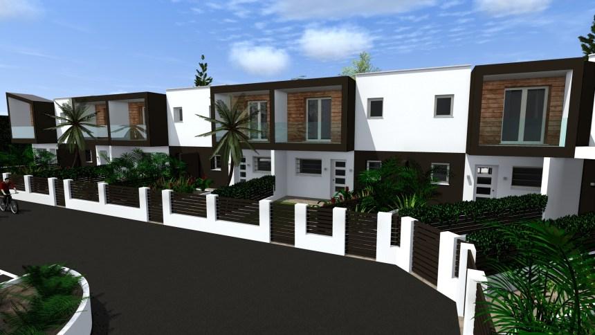Progetto di case a schiera in stile moderno bettio marta for Progetti di interni case moderne