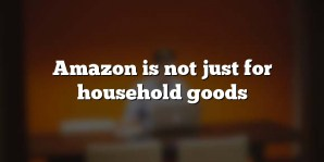 Amazon is not just for household goods
