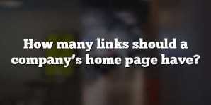 How many links should a company's home page have?