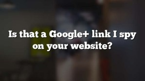 Is that a Google+ link I spy on your website?