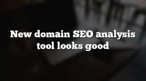New domain SEO analysis tool looks good