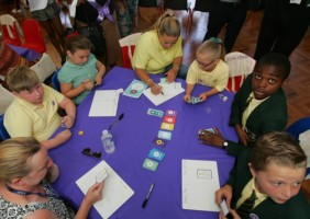 money game at launch with kids - financial literacy