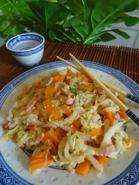 recette pal o chou chinois aux carottes et lardons. Black Bedroom Furniture Sets. Home Design Ideas