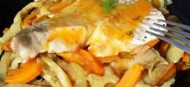 Lieu noir sur lit de fenouil et carottes braisés, sauce aux agrumes 1