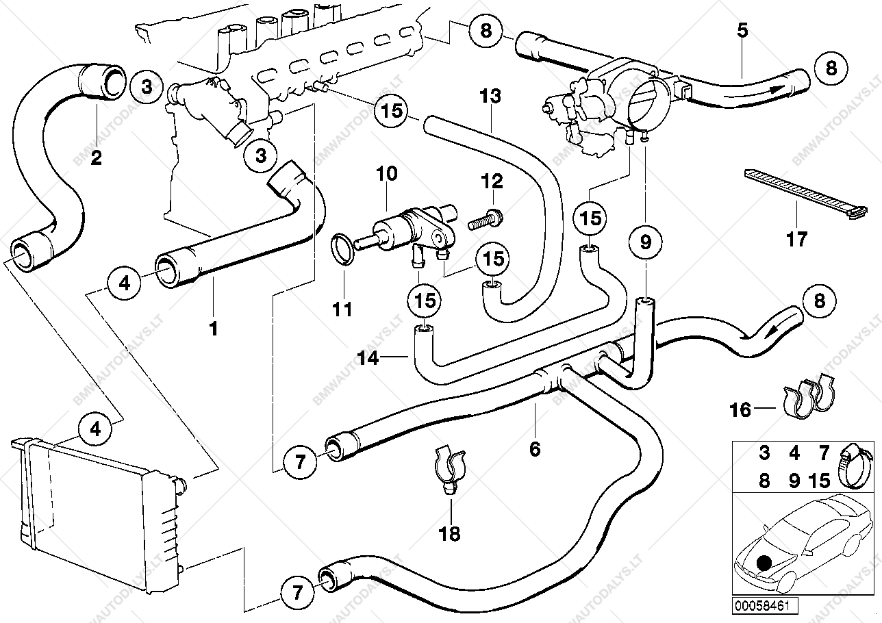 Cooling system water hoses for bmw 5' e34 525i m50 sedan ece 58461 47375 e34 bmw engine diagram e34 bmw engine diagram