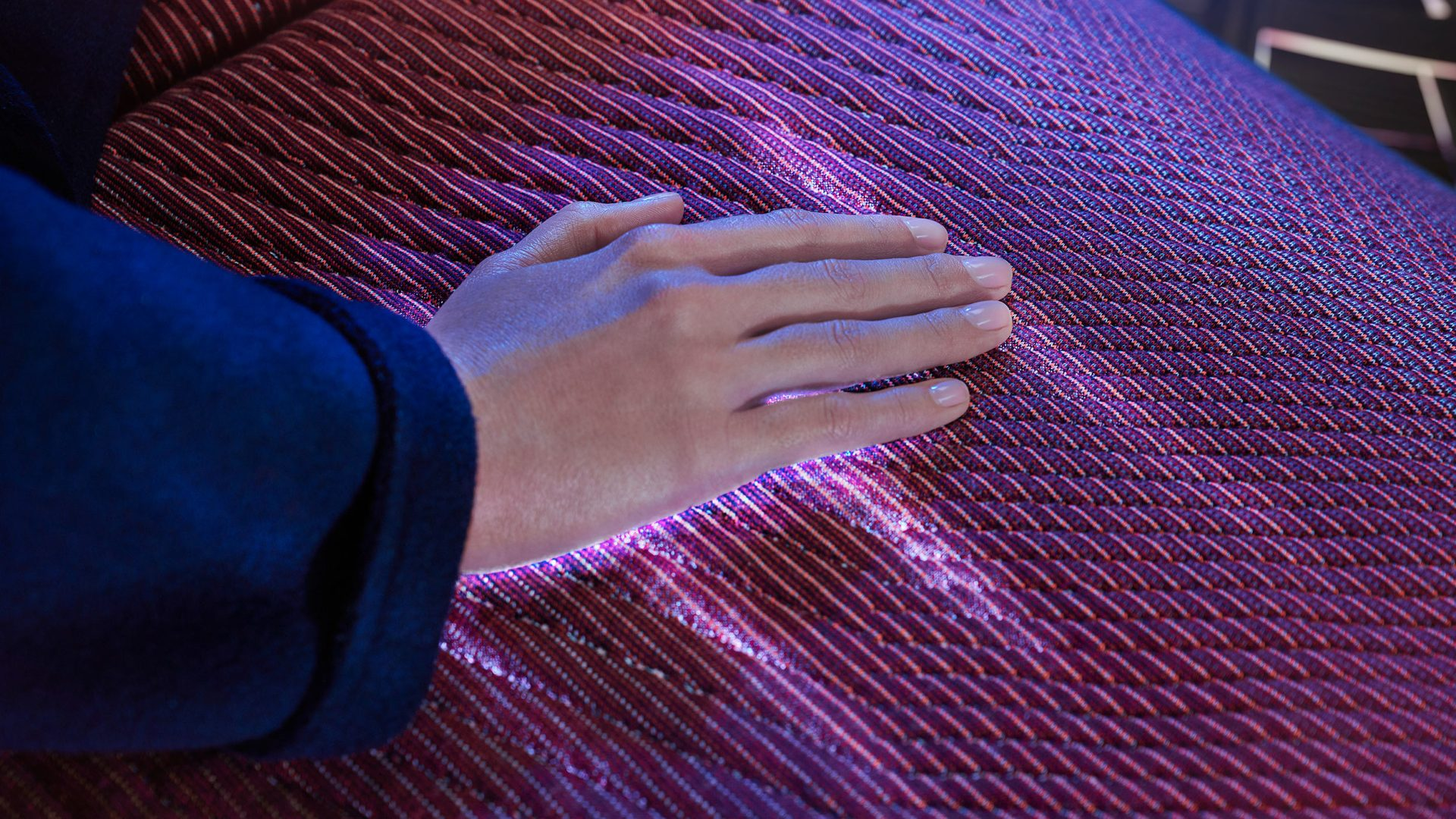 Interactive sufrace illuminating beneath hand.