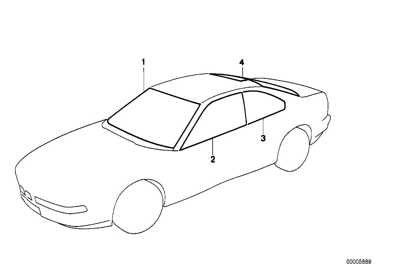 Bmw 850i Coupe E31 Glazing