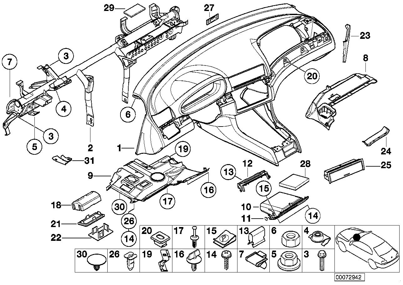 Bmw 325ci Coupe M54 Engine E46 Trim Panel Dashboard