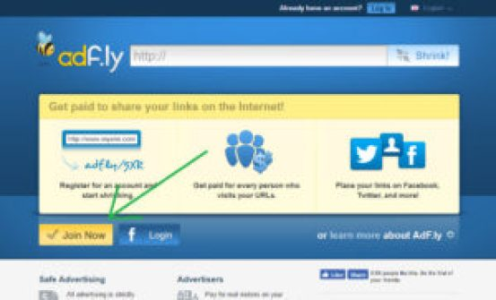 Adfly home page