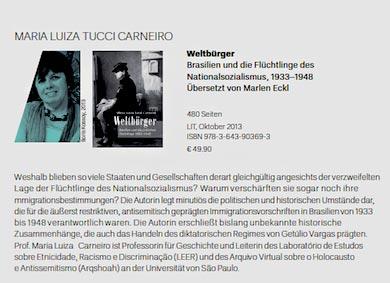 Historiadora Tucci Carneiro lança livro em alemão