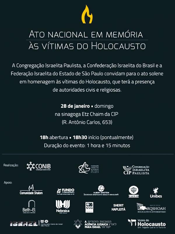 Comunidade judaica paulista promove evento pelo Dia Internacional em Memória às Vítimas do Holocausto