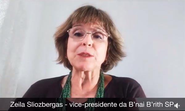 Mensagem da vice-presidente da B'nai B'rith São Paulo, Zeila Sliozbergas