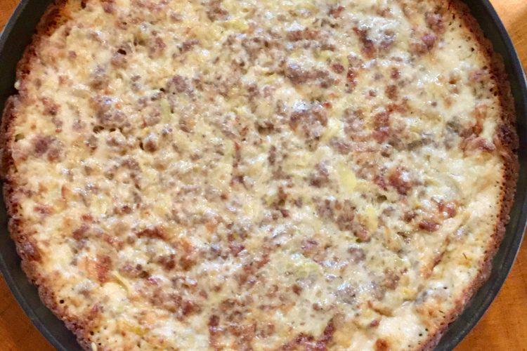 Sausage Brie Artichoke Dip served