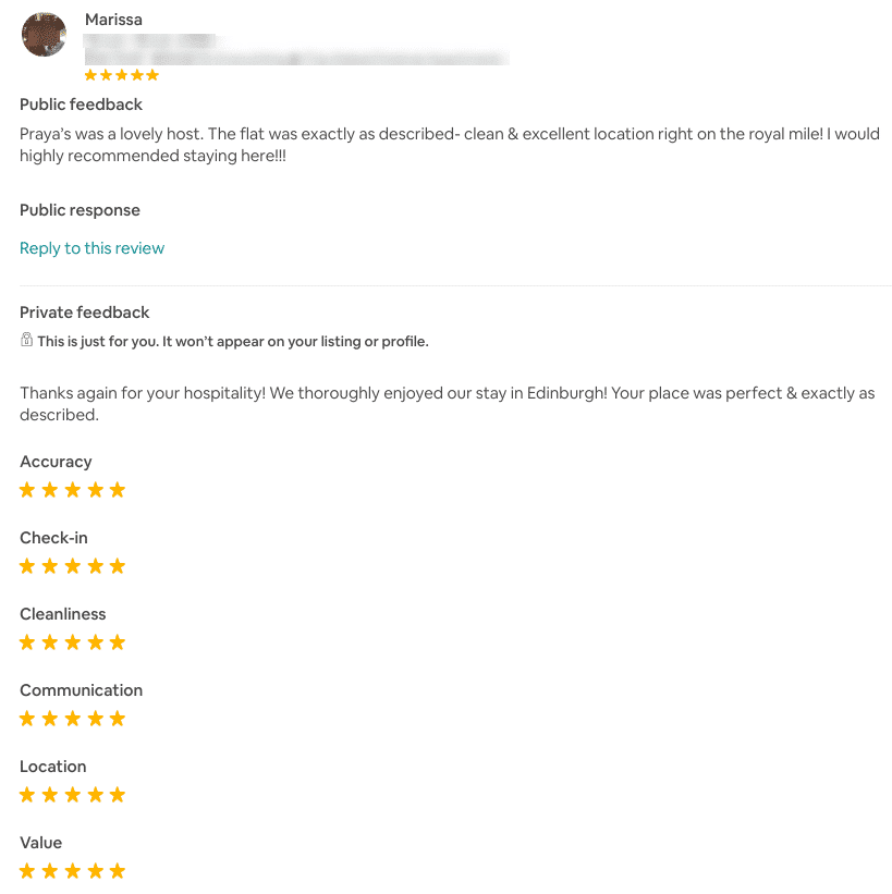 5 Star Airbnb Review