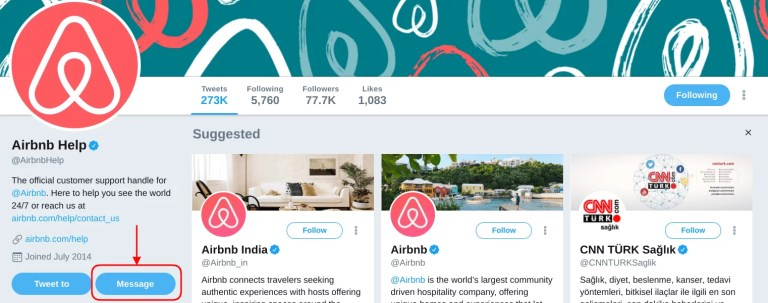 Send Direct Message to @Airbnbhelp