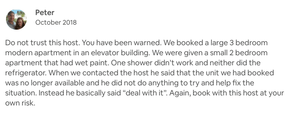 Airbnb bad review example