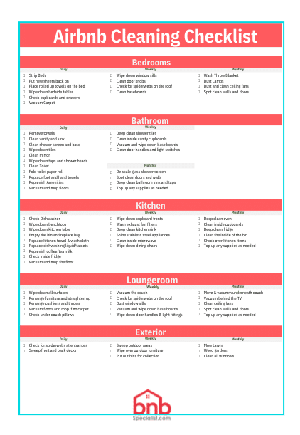 Airbnb Cleaning Checklist Template Printable