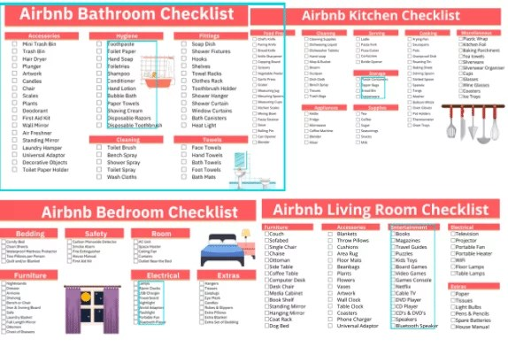 Airbnb Amenities Checklists Bundle