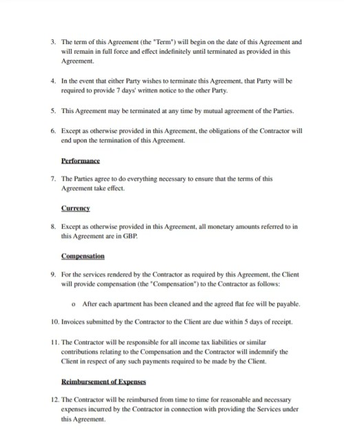 Sample Airbnb Cleaning Agreement