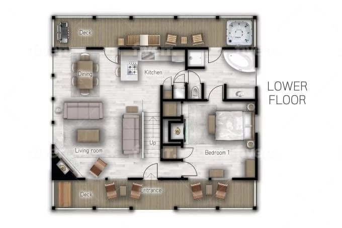 Full Coloured Floor Plan For Your Airbnb Listing