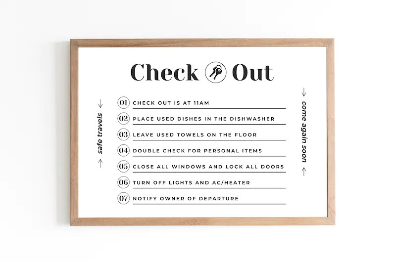 Airbnb Check Out Sign – Digital PDF & JPG