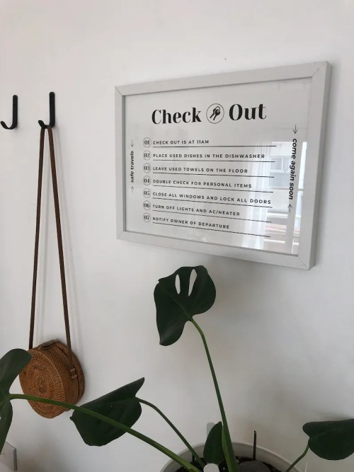 Airbnb Checkout Sign