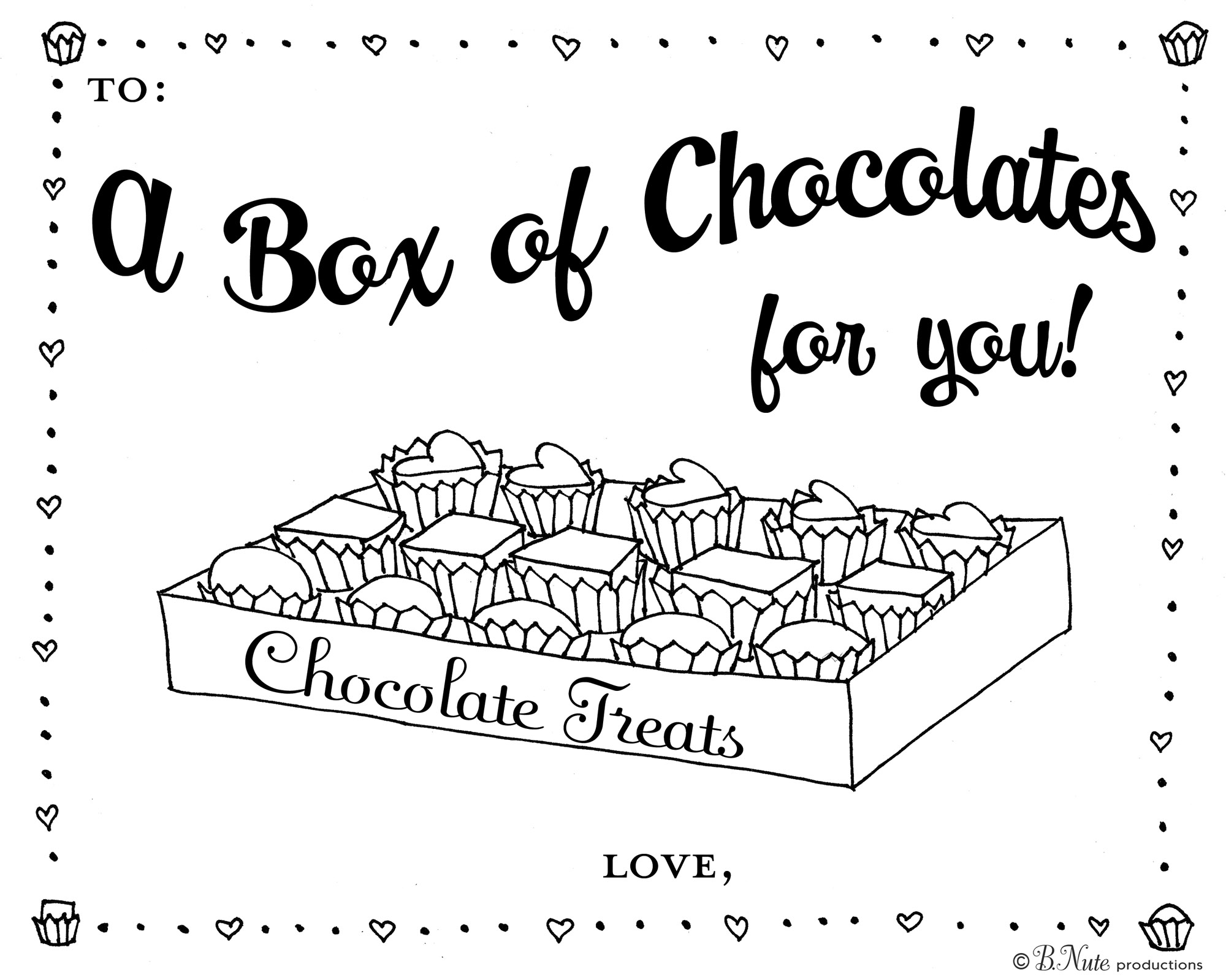 Bnute Productions Box Of Chocolates Coloring Page