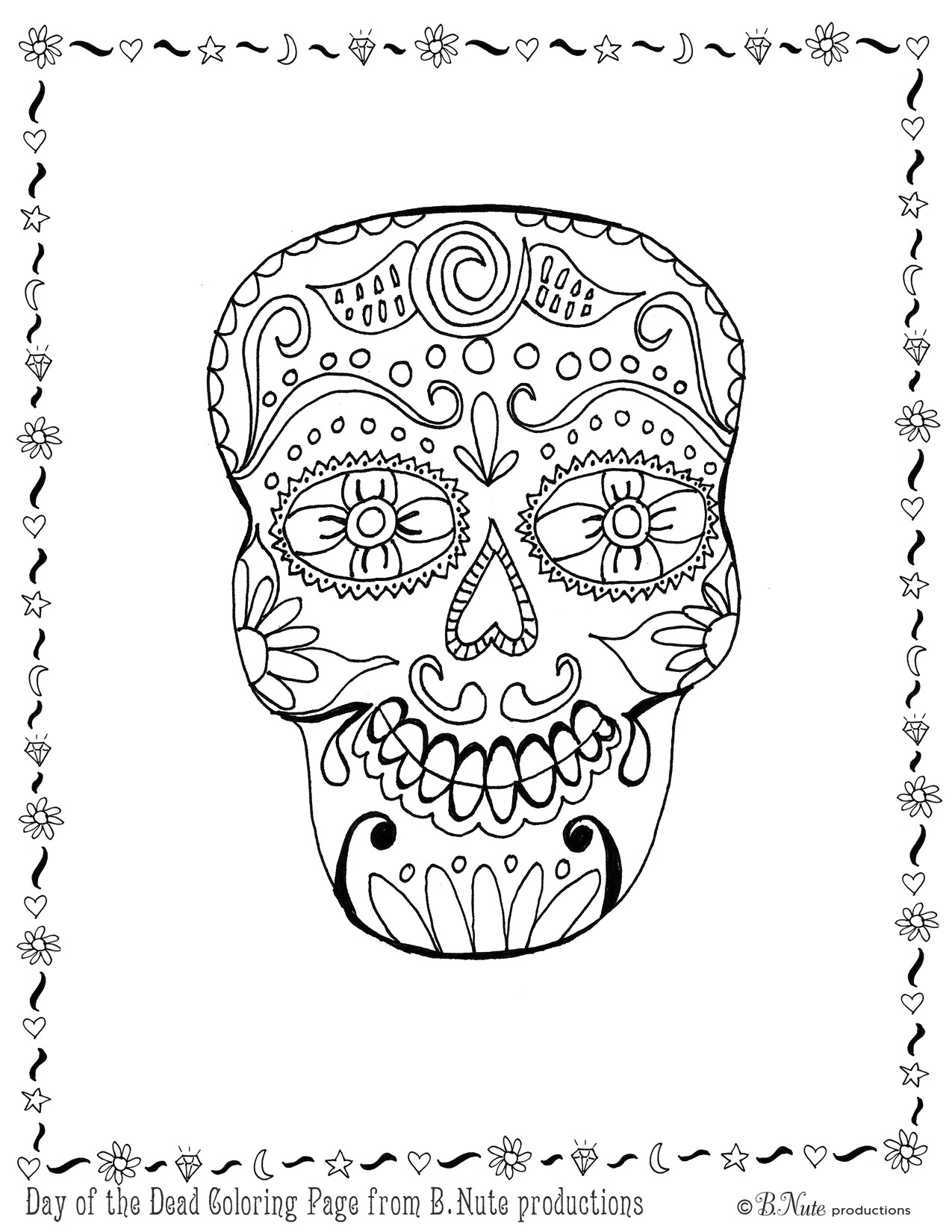 Bnute Productions Free Printable Day Of The Dead Skull