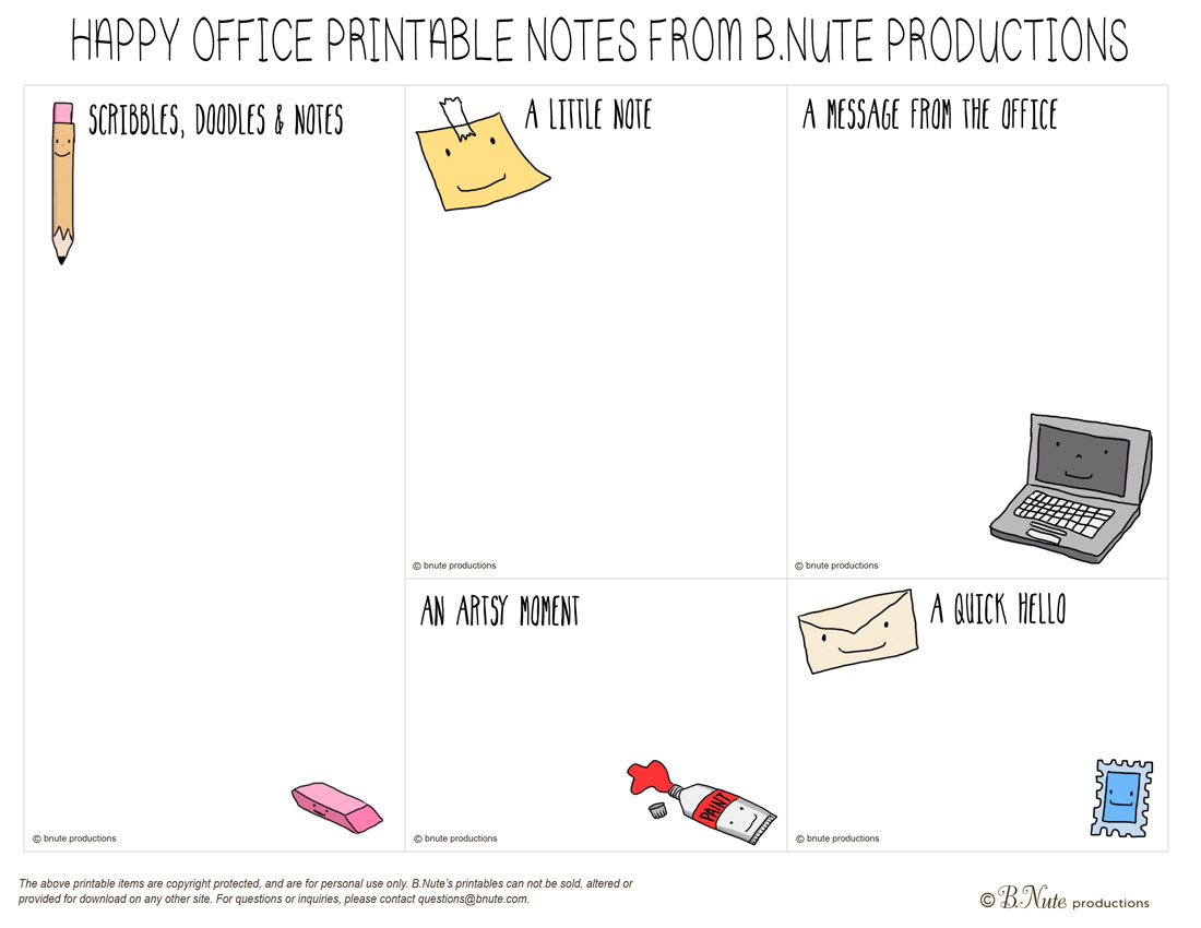 Bnute Productions Free Printable Super Cute Kawaii Notes