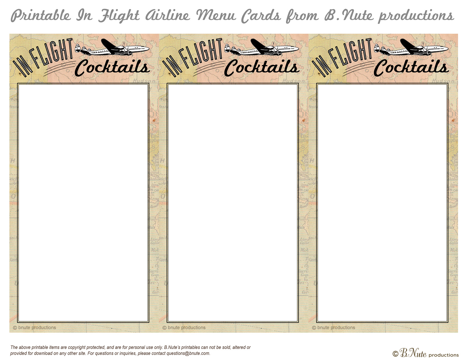 Bnute Productions Free Printable In Flight Menu Cards
