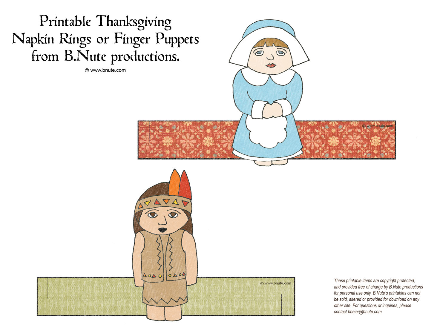 Bnute Productions Free Printable Thanksgiving Napkin