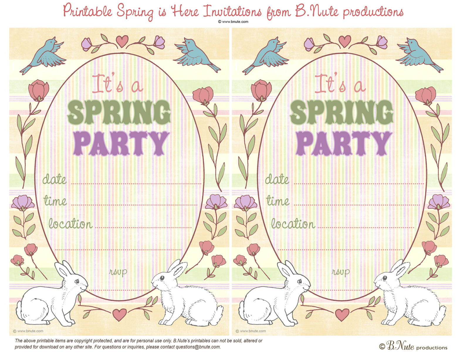 Bnute Productions Free Printable Spring Is Here Easter