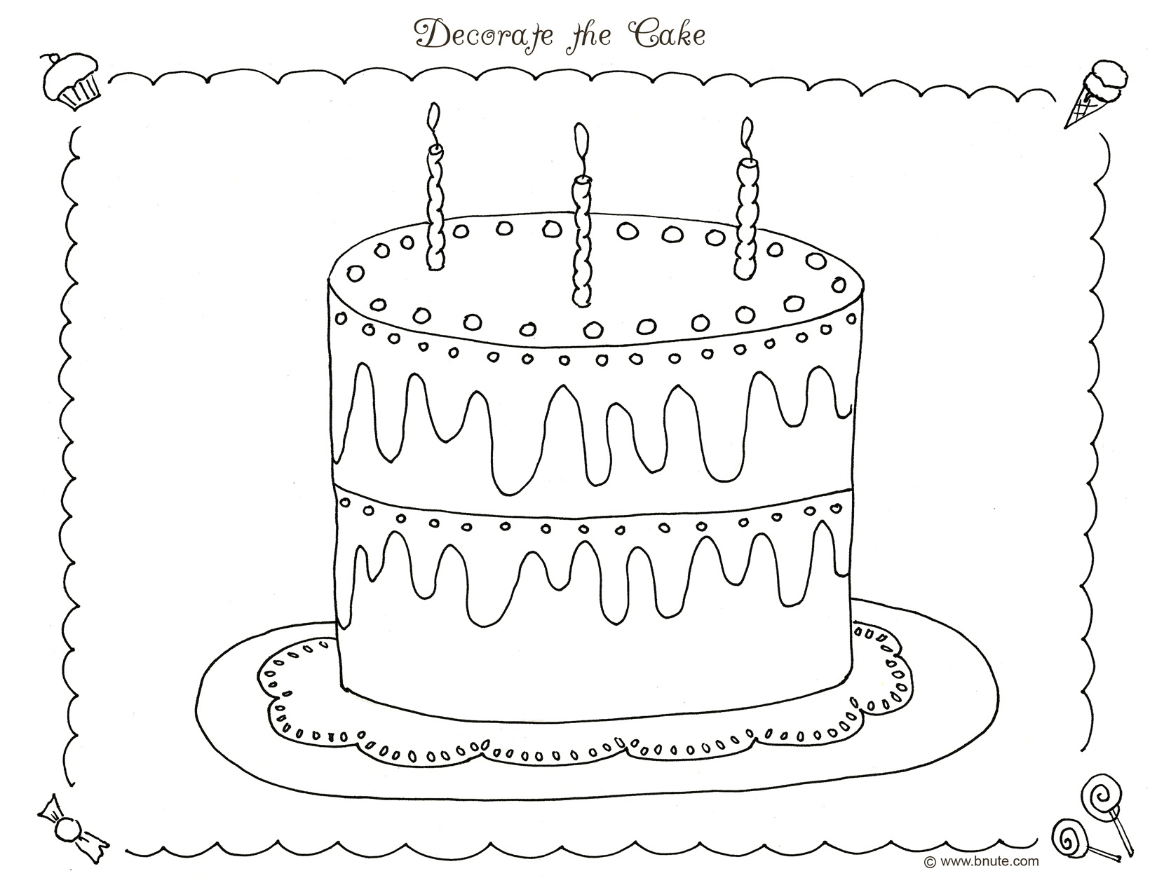 Bnute Productions Sweet Treats Party Ideas Decorations Games Art Free Coloring Pages And