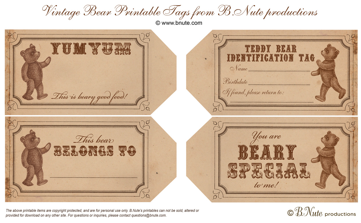 Bnute Productions Free Printable Vintage Teddy Bear Tags And Teddy Bear Party Ideas