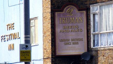 Truman beers and ales sign, at Chrisp Street Market, Poplar